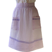 Vintage Organdy Apron in Light Lavender with Darker Lavender Lace Accents