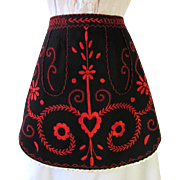 Vintage Black Apron with Red Embroidered Design with Pennsylvania Dutch Motif