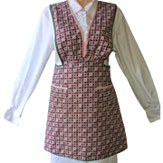 Vintage Bib Apron in Green and Burgundy Calico with Green and Pink Ric Rac