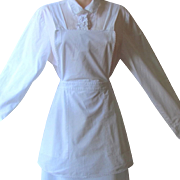 Vintage Maid's Bib Apron in White Cotton with Large Pockets and Lace edges