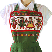 Red and Green Vintage Bib Apron with Austrian Folk Art Motif and Three Pockets