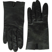 Women's Vintage Driving Gloves in Black Leather