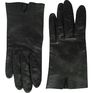 Women's Vintage Driving Gloves in Black Leather - Medium Size