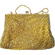 Vintage Beaded Evening Bag in Gold with Swirling Pattern and Rhinestone Accents