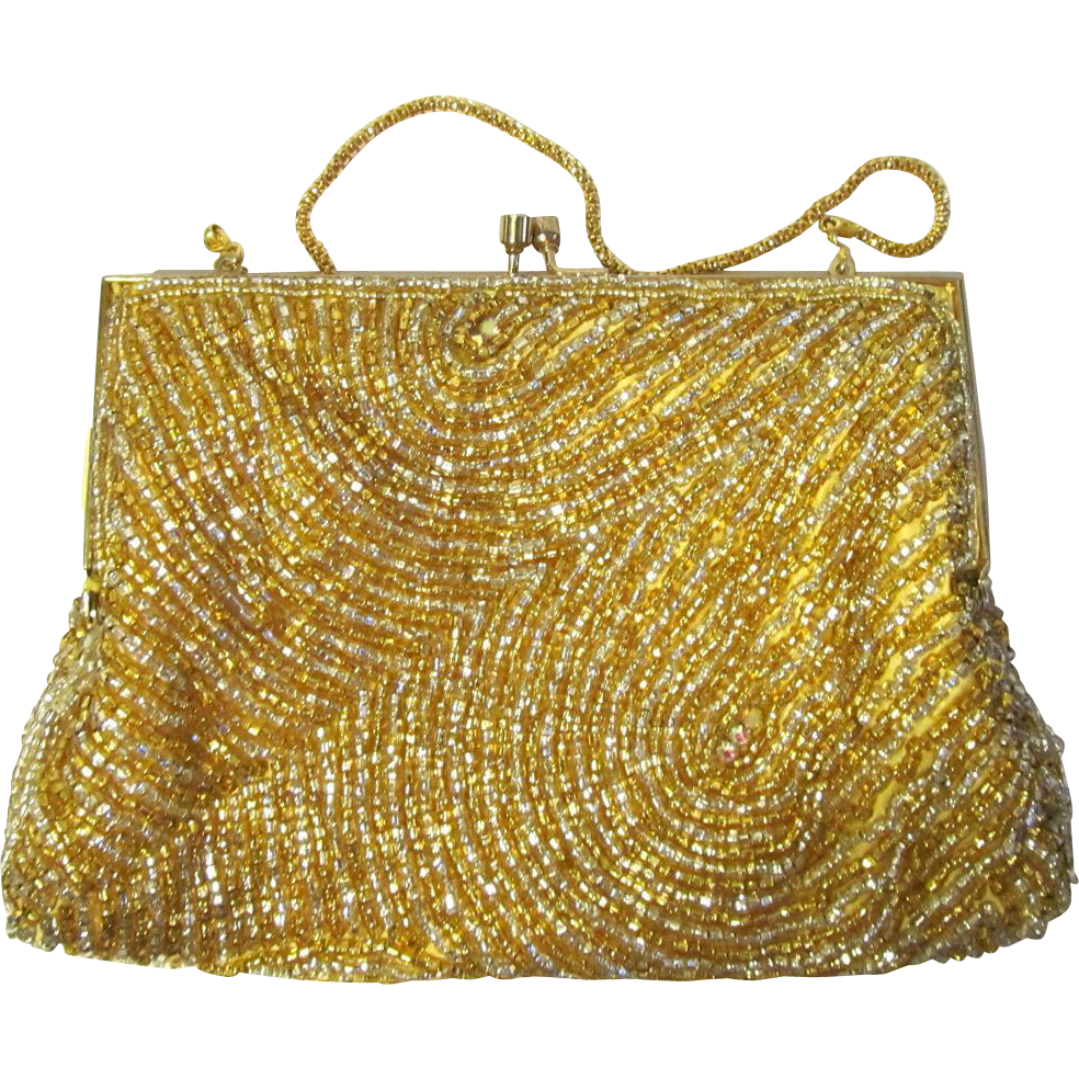 vintage beaded evening bag in gold with swirling pattern