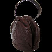 1930s Tegu Lizard Skin Wilshire Original Handbag – Deep Brown in Pleated Wristlet Style