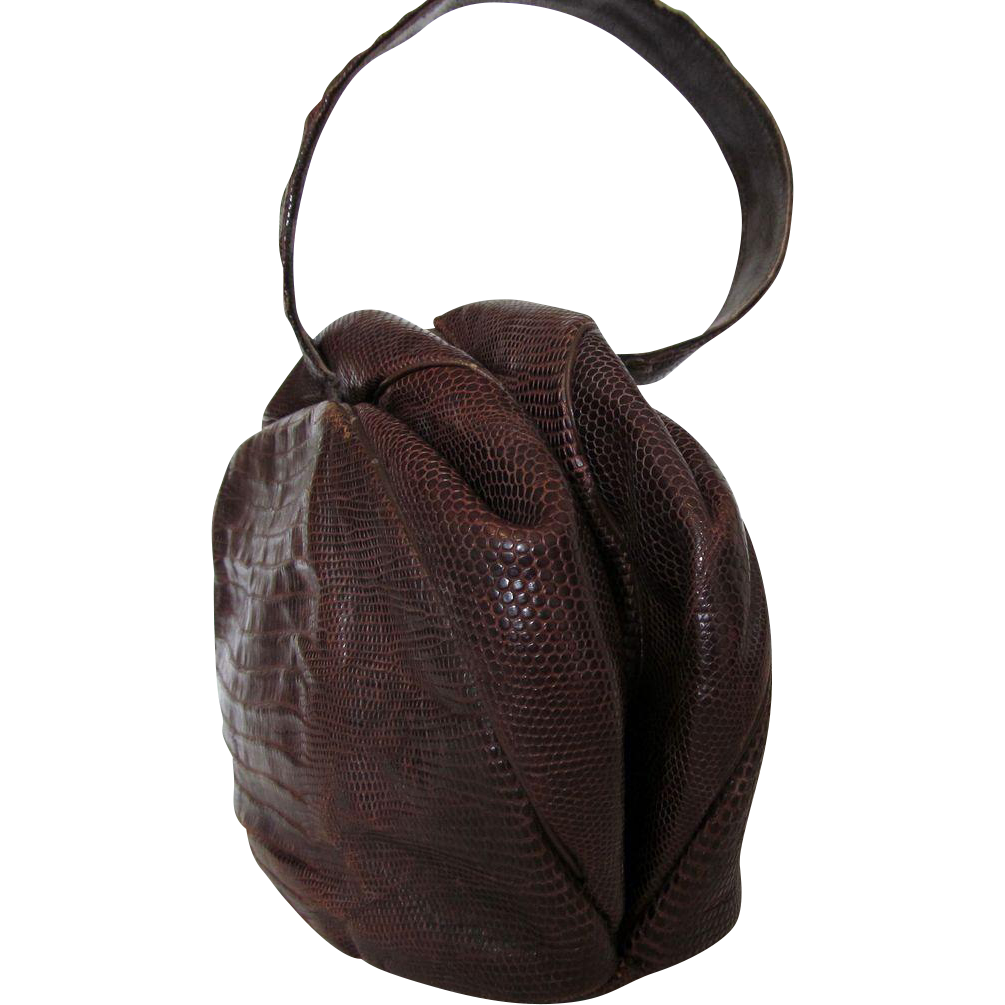 1930s Tegu Lizard Skin Wilshire Original Handbag – Deep Brown in Pleated Wristlet Style
