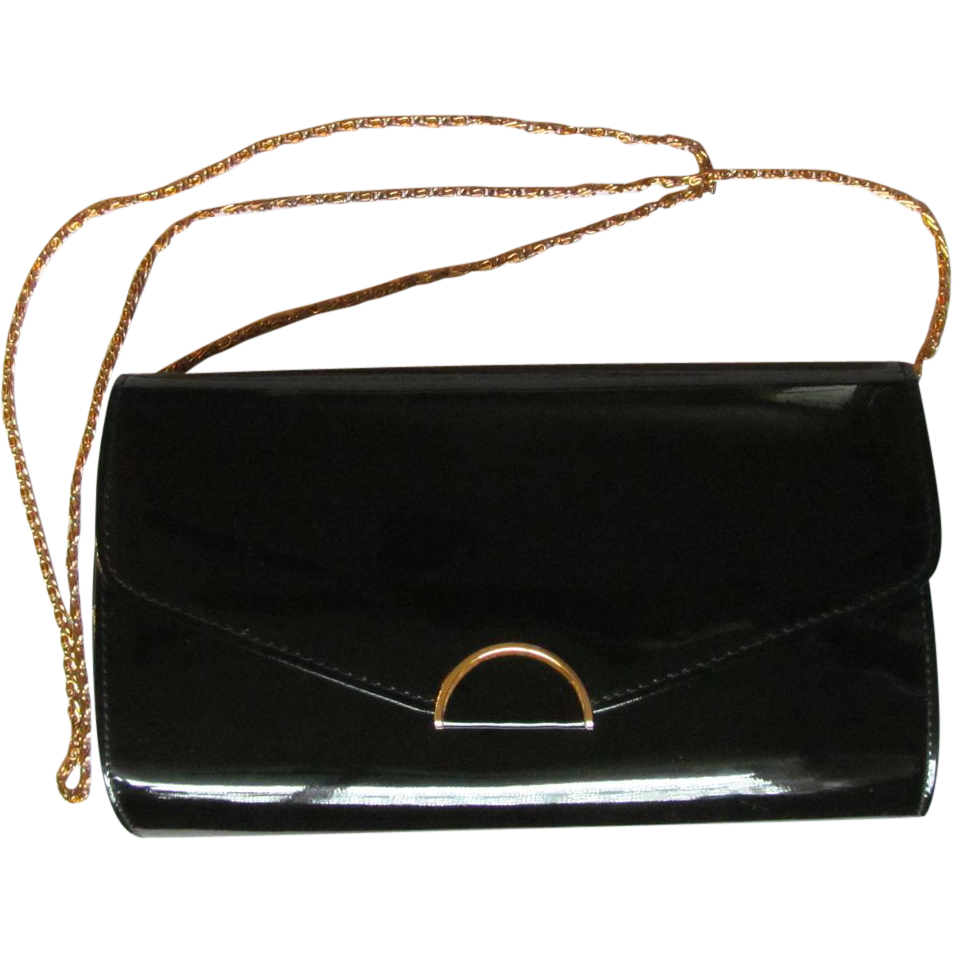 Vintage Ande Convertible Clutch in Black Patent with Cross-body Chain