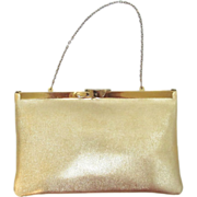 Vintage 1950's Convertible Evening Clutch by Etra in Gold-Colored Vinyl