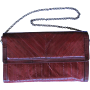 Vintage Eel Skin Leather Clutch in Rich Burgundy with Convertible Handle and Multiple Compartments
