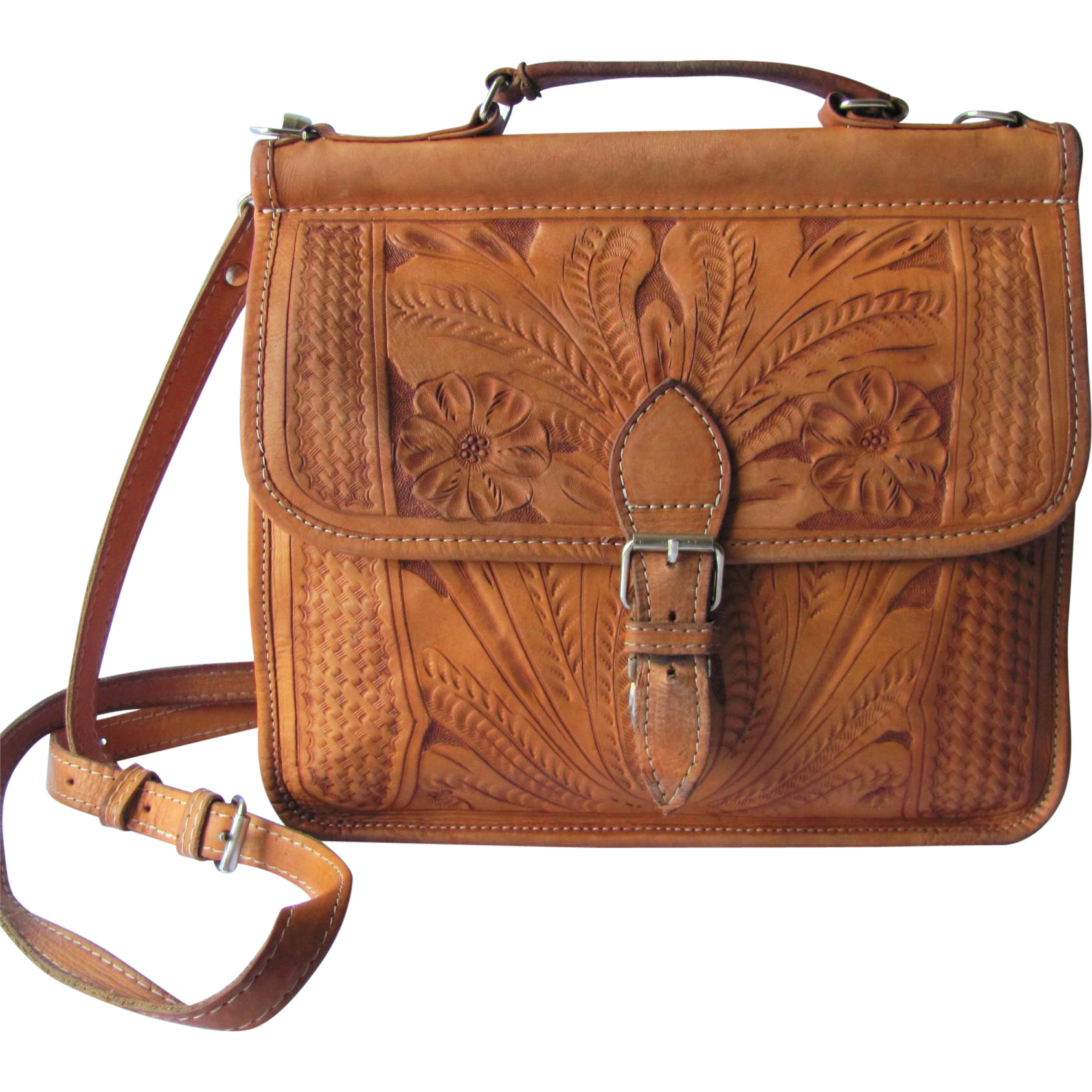 Vintage Hand Tooled Leather Handbag in Caramel Color with Cross ...