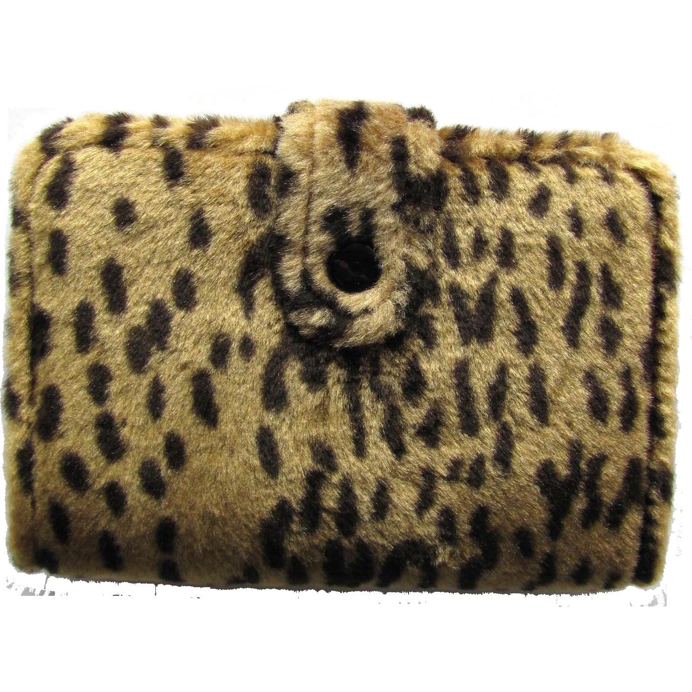 Vintage Animal Print Agenda Wallet with Faux Cheetah Fur - Day Planner - 1996 Calendar