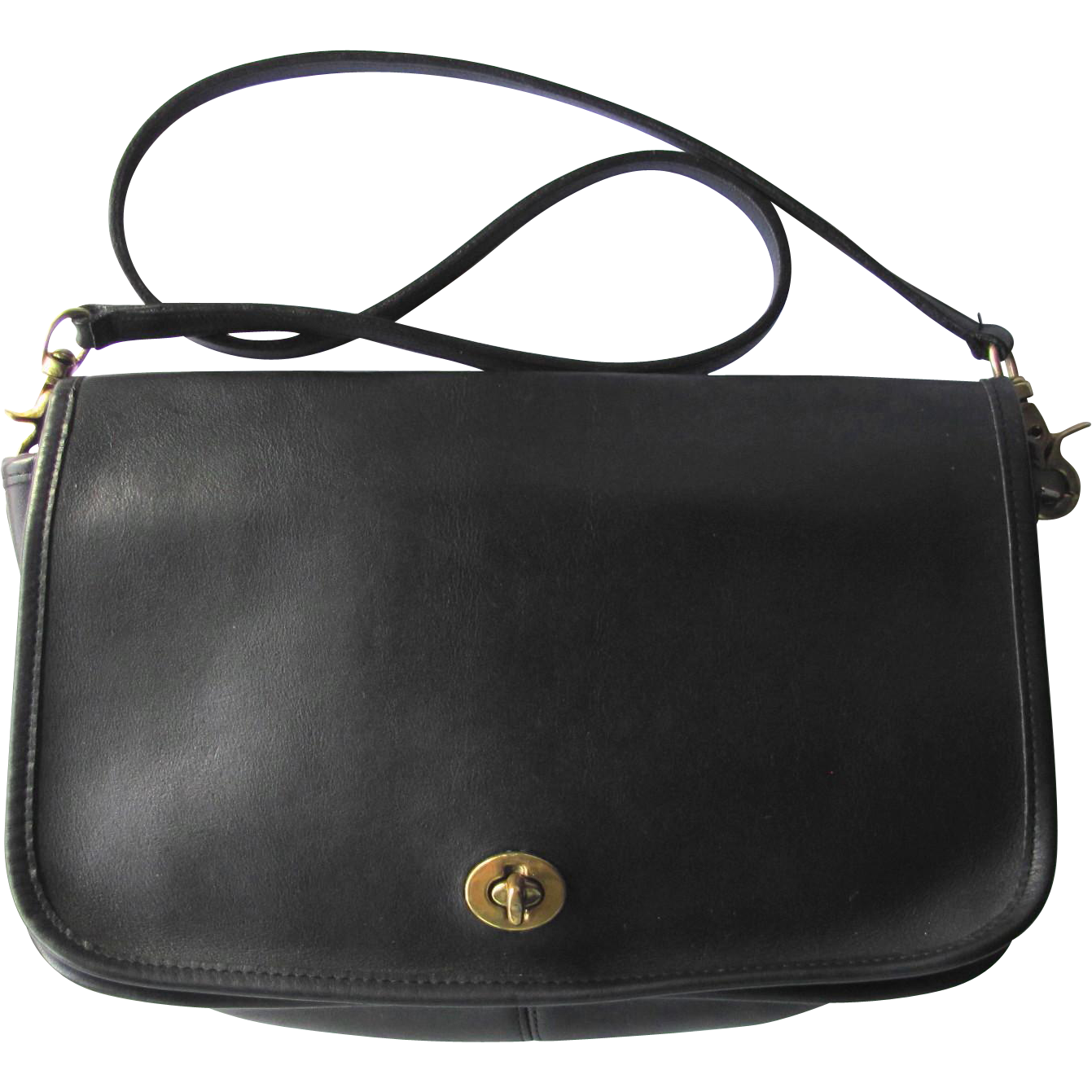Vintage Coach Black Leather Saddle Bag – New York City Bag from Original Coach Factory
