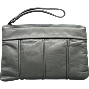 Vintage Leather Clutch in Soft Grey by Four Seasons of California