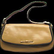 Vintage Leather Baguette Style Handbag in Desert Sand Color Made in Columbia NOS
