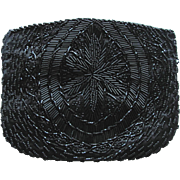 Vintage Beaded Evening Bag in Black with Floral Design by Magid - Made in Macau