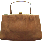 Vintage Suede Leather Convertible Clutch in Tawny Shades and Handle with a Twist