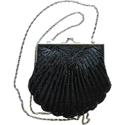 Vintage Beaded Evening Bag in Black with Scalloped Edges and Long Convertible Chain
