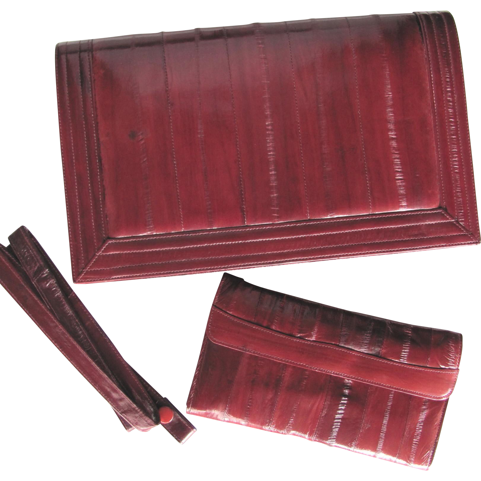Vintage Eel Skin Clutch in Maroon with Matching Wallet and Convertible Strap