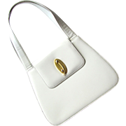 Vintage White Handbag with Tailored Design and Decorative Clasp – Made in Italy