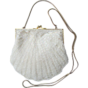 Vintage Beaded Evening Bag in White with Iridescent Beads - Scalloped Edges - Convertible Chain