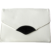1960s White Clutch with Black Patent Accent – Convertible with Cross-Body Strap