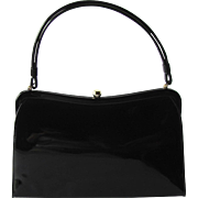 Vintage 1950's Kelly Handbag in Black Patent Vinyl by Theodor of California