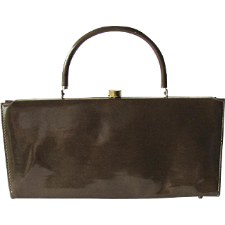 Vintage 1950's Handbag in Taupe Vinyl with Baguette Styling