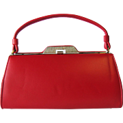 Vintage 1960's Fire Engine Red Handbag of Marshmallow Vinyl in Structured Baguette Style