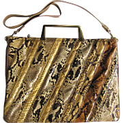Vintage 1970's Varon Python Leather Handbag in Satchel Style with Convertible Strap