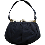 Vintage 1930's Art Deco Navy Blue Fabric Handbag with Classic Art Deco Details