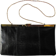 Vintage 1950's Black Leather Convertible Clutch with Hinged Frame by Etra