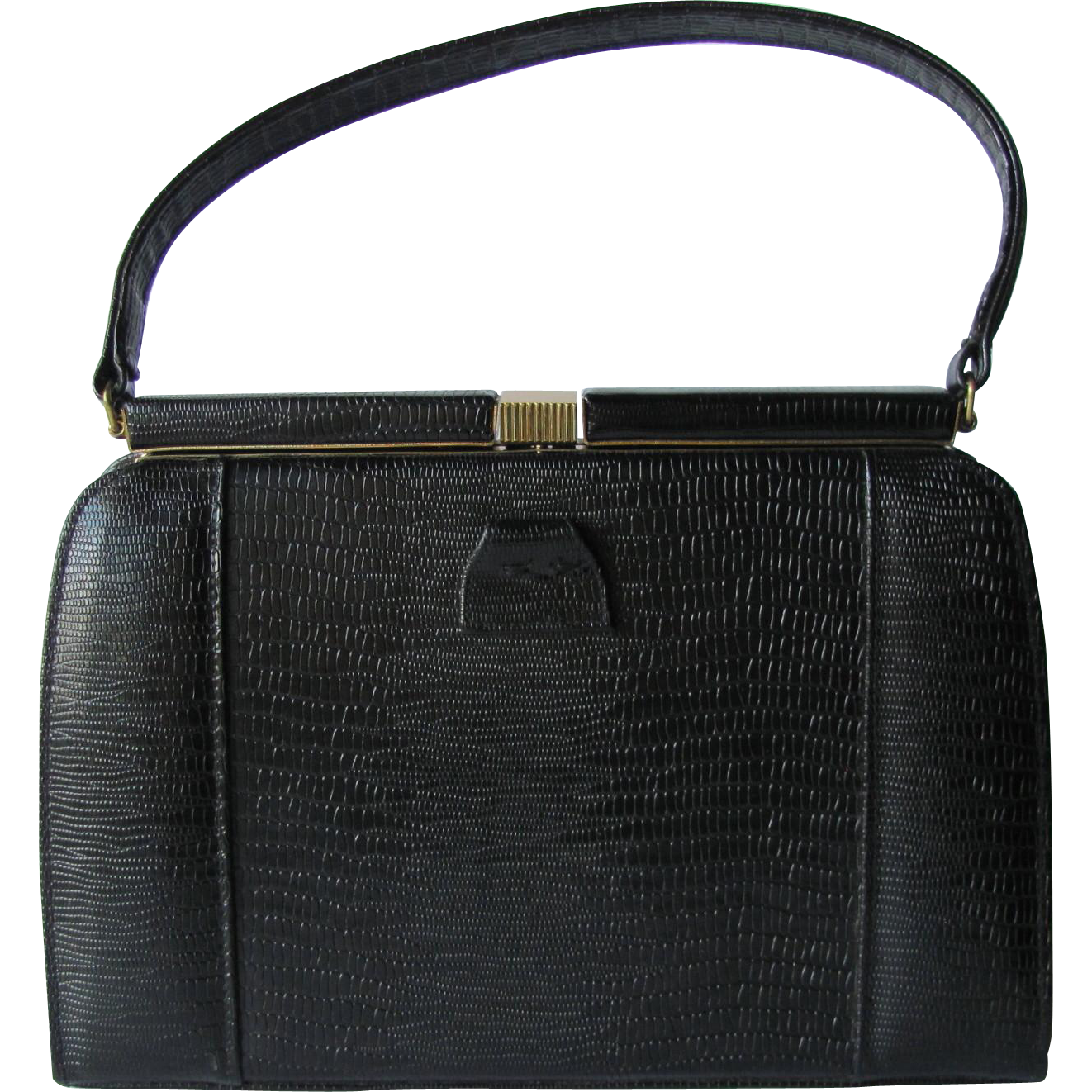 Vintage Mid-Century Black Kelly Handbag of Embossed Faux Reptile