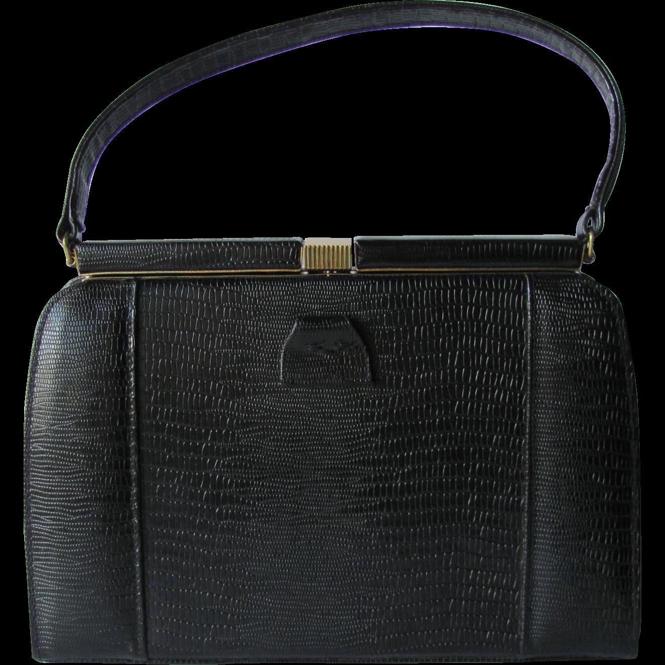 Vintage Mid-Century Black Kelly Handbag of Embossed Faux Reptile