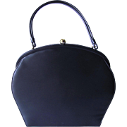 Vintage 1950's Navy Blue Vinyl Handbag with Curved Lines by Theodor of California