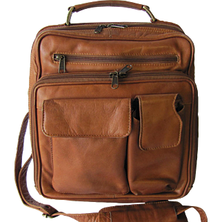 Men's Vintage Leather Commuter Bag in Tawny Color - Vertical with Crossbody Strap