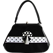 Vintage 1960's Black Mod Handbag with Black and White Polka Dot and Stripe Accents