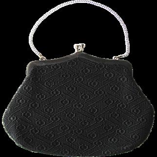 Vintage 1940's Black Tapestry Handbag with Geometric Pattern by Noveltrim NSW Australia