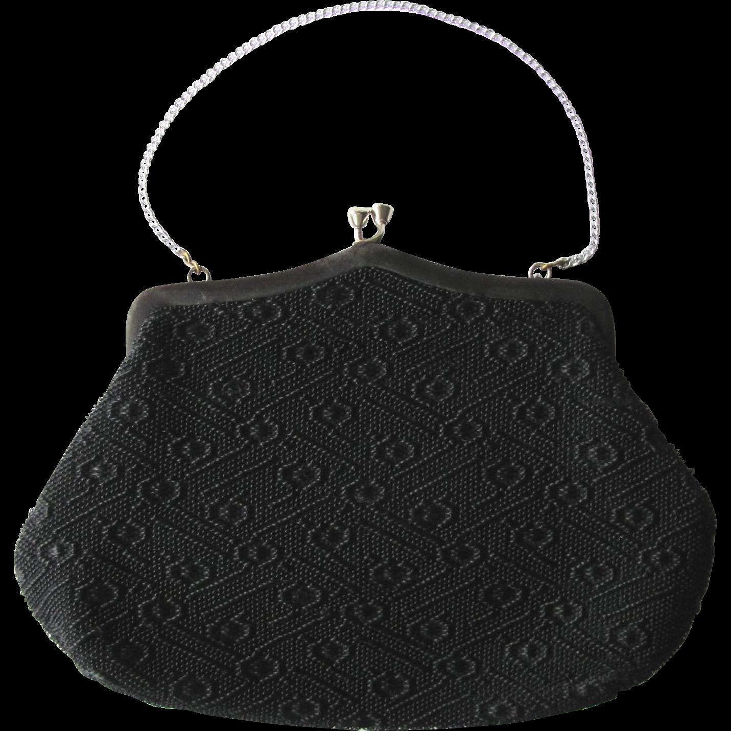 Vintage 1940s Black Tapestry Handbag with Geometric Pattern by Noveltrim NSW Australia