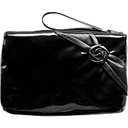 Vintage 1960's Clutch of Black Patent with Black Leather Rose Accent – by Shapiro Travelware