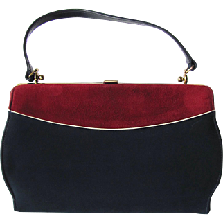 Vintage 1950's Kelly Suede Handbag in Navy Blue and Carmine by Town & Country