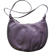 Vintage Leather Hobo Bag in Light Lavender with Cross-Body Strap