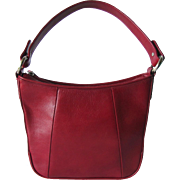 Vintage Hobo Bag in Deep Red Leather with Classic Lines