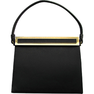 Vintage 1950's Black Evening Bag in Matte Satin with Unique Clasp by After Five