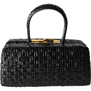 Vintage 1950's Italian Box Handbag in Black Lacquered Wicker by Rodo – Made in Italy