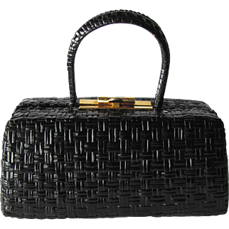 Vintage 1950's Italian Box Handbag in Black Lacquered Wicker by Rodo – Made in Italy