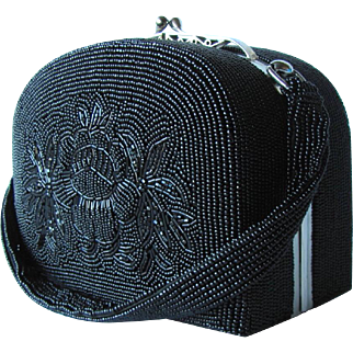 Vintage 1940's Beaded Box Handbag in Black with Decorative Clasp and Floral Design