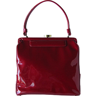 Vintage 1950's Crimson Red Handbag in Patent by Mam-selle