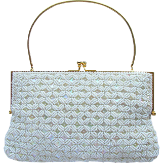 Vintage 1960's Beaded Evening Bag in White with Iridescent Sequins - Richere Bag by Walborg