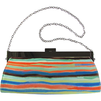 Vintage Multi-Colored Clutch with Hot Pink Lining and Shoulder Length Convertible Chain